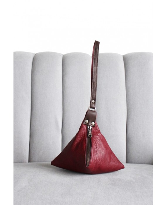 Pyramid bag in Burgundy and brown