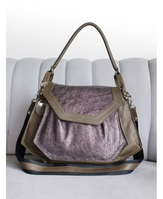 Olivia bag in Olive and Pewter sparkle