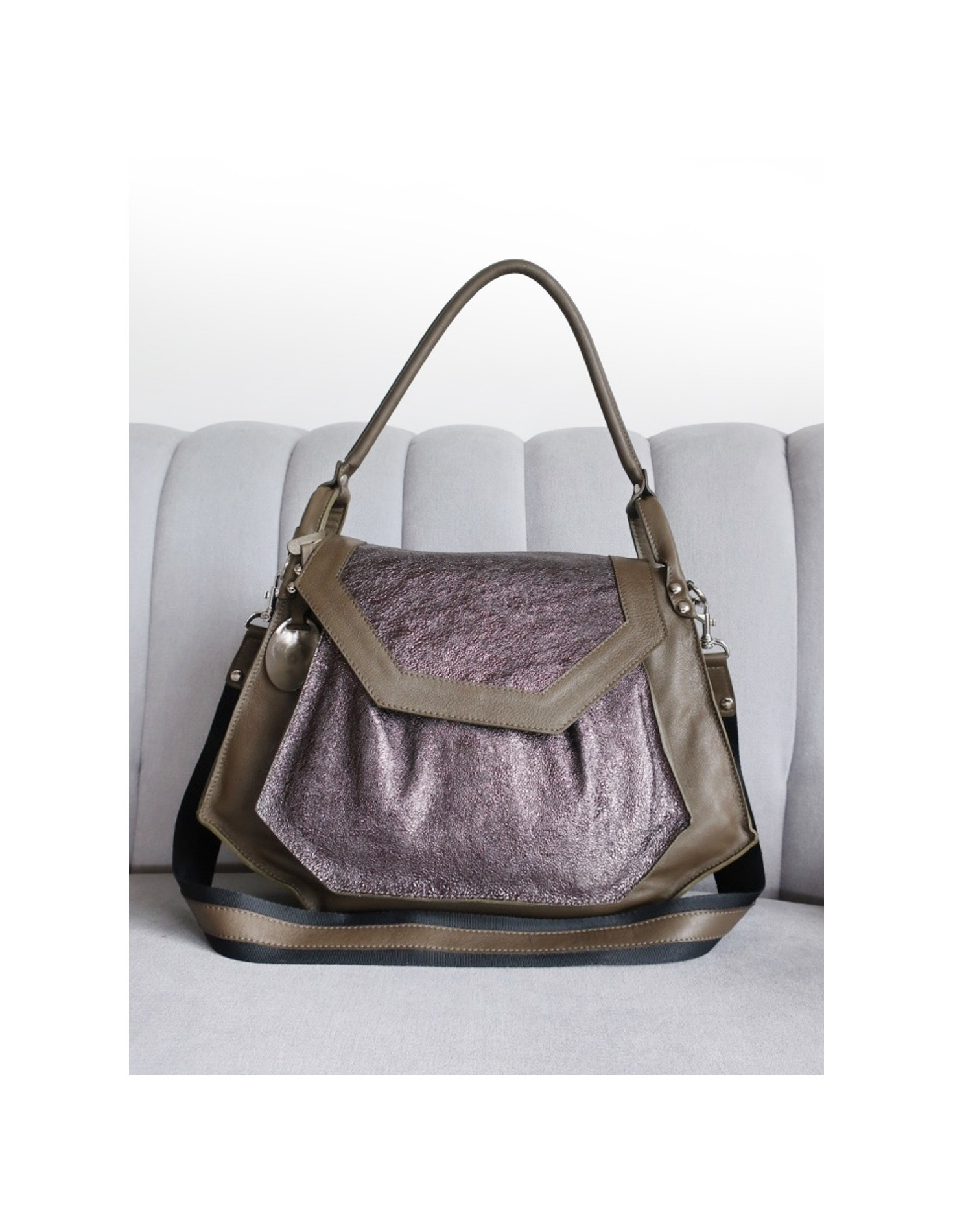 Olivia bag in Olive and Pewter sparkle. Loading zoom a82117ff23b45