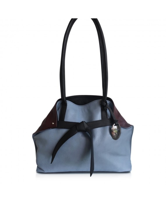 Sara Fold bag Burgundy blue and black