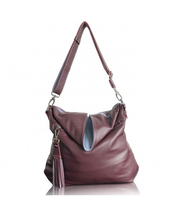 Aine bag in Burgundy and powder blue front