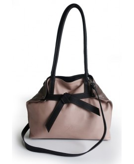 Sarah fold bag Mushroom blush and black
